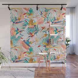Colorful, Vibrant Paradise Birds and Leaves Wall Mural