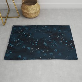Dark sky with clouds, birds and stars Rug