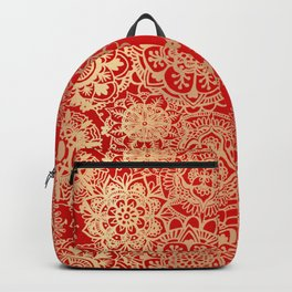 Red and Gold Mandala Pattern Backpack