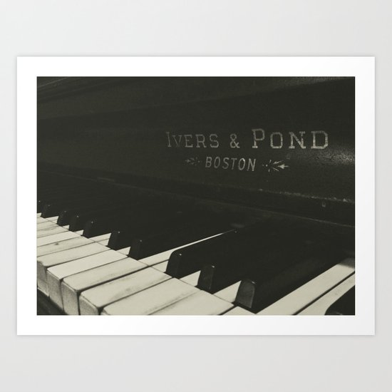 Grayscale Piano Keys Art Print