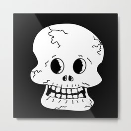 Cracked Skull Metal Print