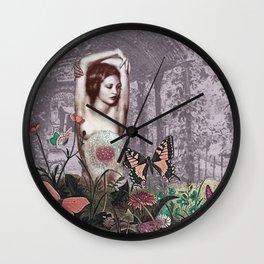 Woman in Purple Garden Wall Clock