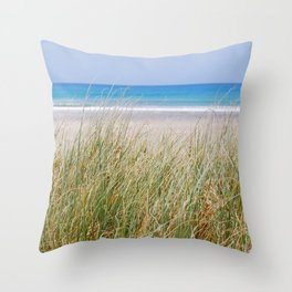 Beach grasses with blue sea Throw Pillow