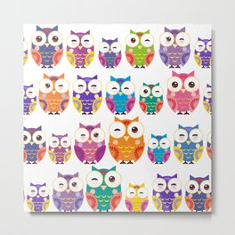 pattern - bright colorful owls on white background Metal Print