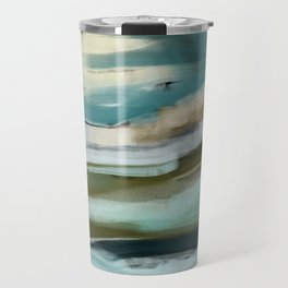 Blue and Green Ocean and Sand Abstract Travel Mug