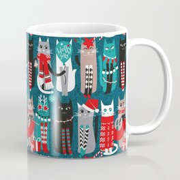 Feline Christmas vibes // dark teal background grey mint white brown and black kittens Coffee Mug
