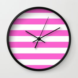 Horizontal Stripes Pattern: Pink Wall Clock