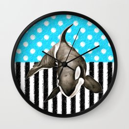 Orca Whale  Blue Polka Dot Wall Clock