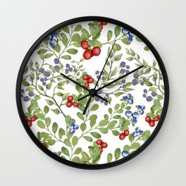Seamless texture of branches of green grass and wild berries on a white background. Wall Clock