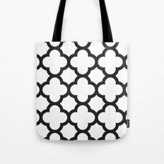 Black Quatrefoil Tote Bag