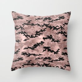 Rose Gold Glitter Camouflage Throw Pillow