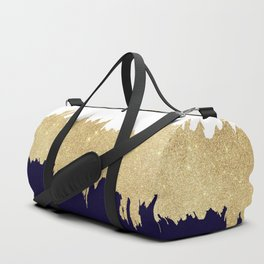 Modern navy blue white faux gold glitter brushstrokes Duffle Bag