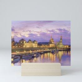 Dresden skyline and River Elbe at dusk Mini Art Print