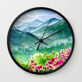 Pink Spring Flower Mountain Meadow Wall Clock