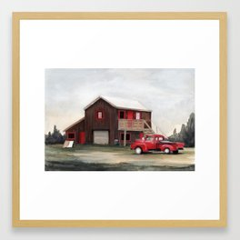 Red house, red truck Framed Art Print