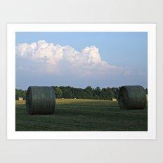 Hay bales at Virginia Farm Art Print