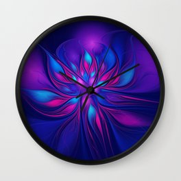 Pink Blue Fantastic Flower | Aqua, purple flowers Wall Clock