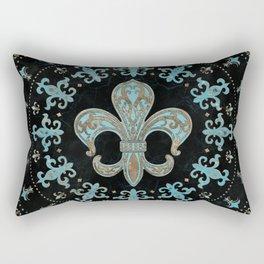 Vintage Fleur-de-lis Teal and Gold  Rectangular Pillow