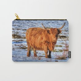 Hamish the Scottish Highland Bull in Winter Snow Carry-All Pouch