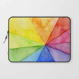 Rainbow Watercolor Geometric Pattern Laptop Sleeve