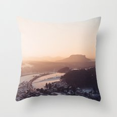 Sunrise in Saxon Switzerland Throw Pillow