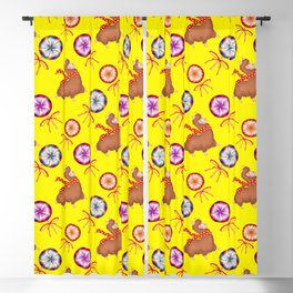baby llamas, sweet vintage retro lollipop candy with ribbons. Cute winter nursery pattern Blackout Curtain