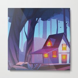 Spooky Backwoods Cabin  Metal Print