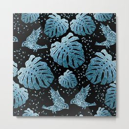 Tropical mosaic design with monstera leaves and birds in blue Metal Print