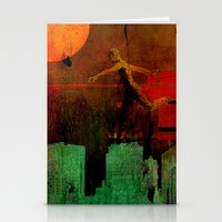 takmaj Stationery Cards featuring Jump on the green city by Joe Ganech