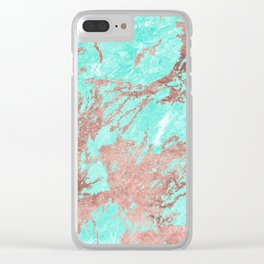 Modern rose gold turquoise white stylish marble Clear iPhone Case