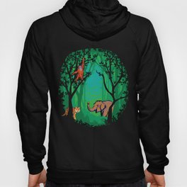 Sumatra Forest Animals - Orangutan, Tiger and Elephant Hoody
