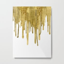 Gold paint drips Metal Print