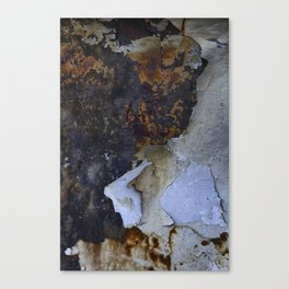 Old white paint on rusty metal Canvas Print