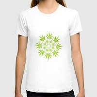 cannabis T-shirts featuring Cannabis Leaf Circle (White) by The Image Zone