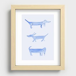 The Blue Dachshund Recessed Framed Print