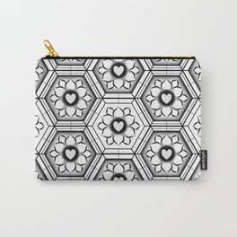 Hearts with floral and hexagonal geometric pattern Carry-All Pouch
