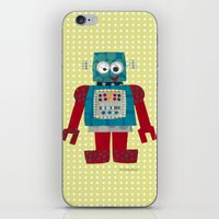 50s iPhone & iPod Skins featuring whirr 50s retro robot by blossyfloss