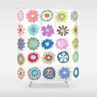 karen Shower Curtains featuring Bohemian Flower Shower Curtain by Karen Fields by Karen Fields Design
