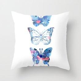 Butterflies Three Blue Clothes Women Throw Pillow