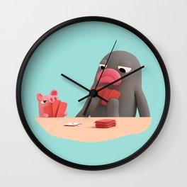 Rosa and Lars Playing Poker Wall Clock