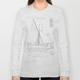 Vintage black & white sailboat blueprint drawing antique nautical beach or lake house preppy decor Long Sleeve T-shirt
