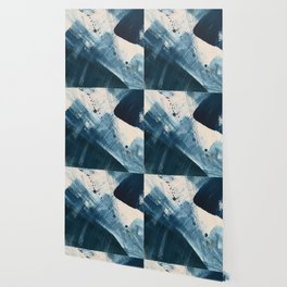 Against the Current [2]: A bold, minimal abstract acrylic piece in blue, white and gold Wallpaper