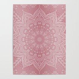 Boho Rose Pink Mandala Poster