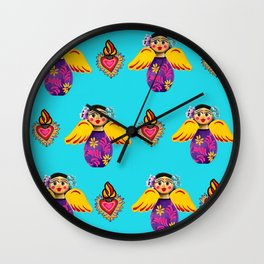 Angels and Hearts Turquoise Wall Clock