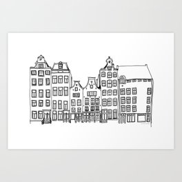 Amsterdam canal houses drawing Art Print