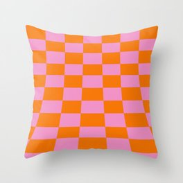 Warped perspective coloured checker board effect grid illustration orange and pink Throw Pillow