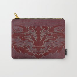 Tribal Wolf Red Carry-All Pouch