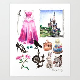 Sleeping Beauty Collage Princess Aurora Maleficent Art Print