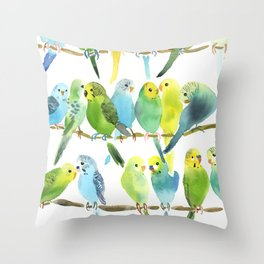 A Chatter of Budgerigars Throw Pillow