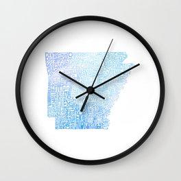 Typographic Arkansas - Blue Watercolor map Wall Clock